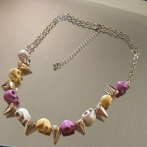 Jewelry - Gold Stud Skull Bead Necklace